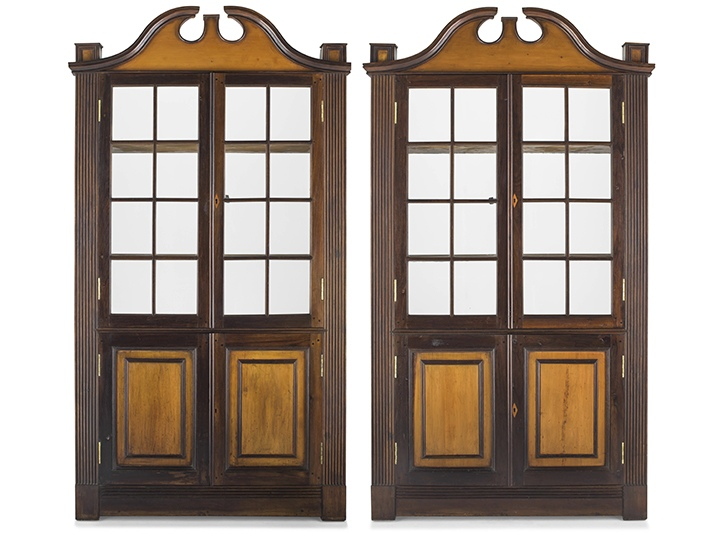 A pair of Cape stinkwood and yellowwood wall cupboards, Oudtshoorn district, 19th century